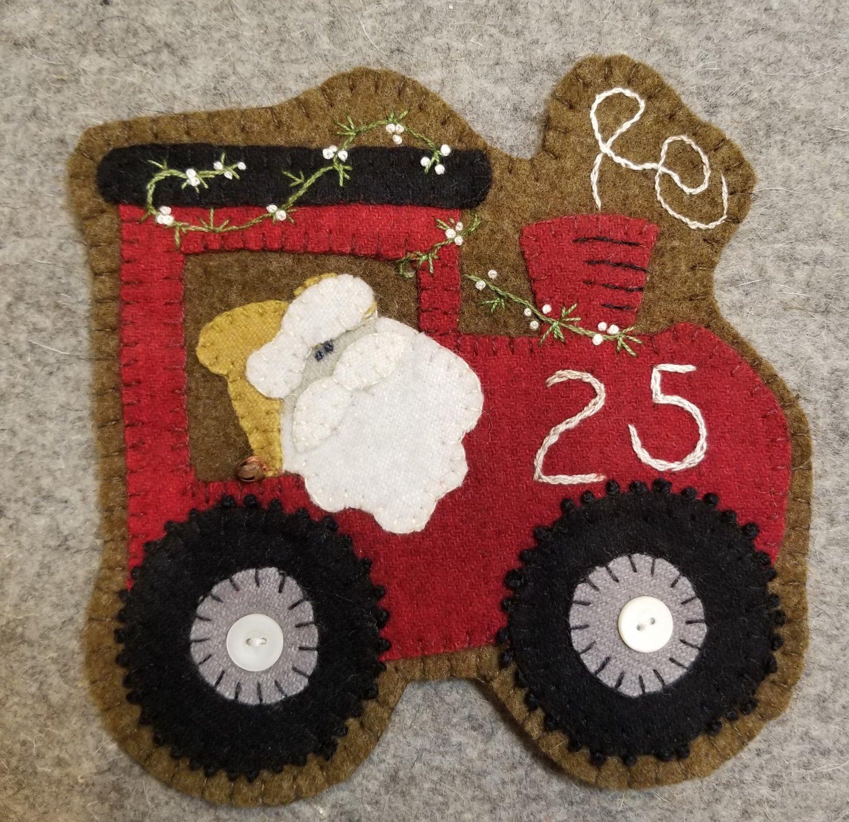 Santa's Train Wool Ornament - e-pattern ONLY