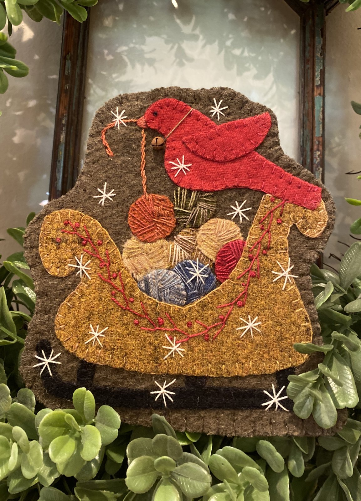 Christmas Yarn Sleigh Wool Ornament Kit ONLY