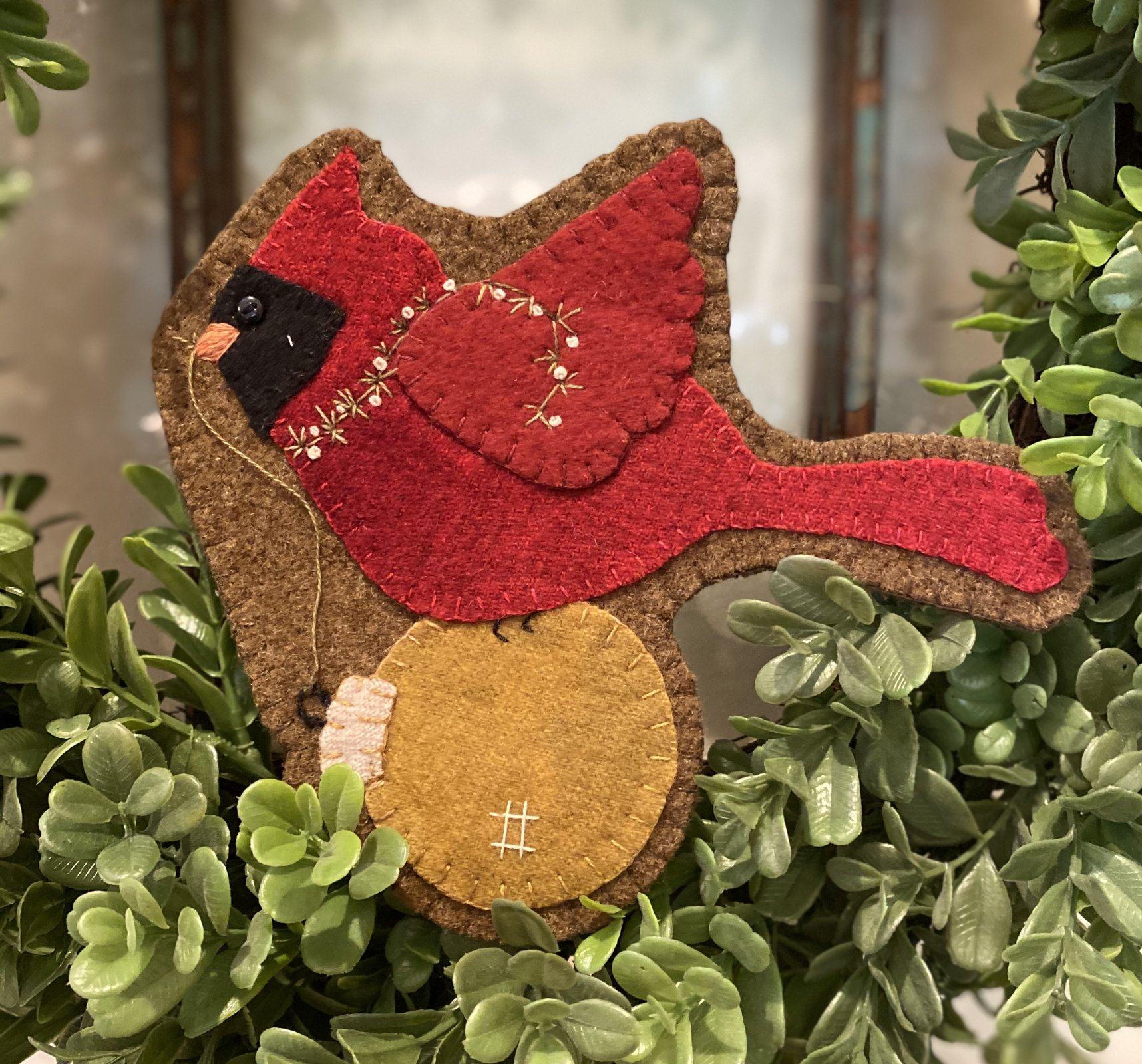 Christmas Cardinal Wool Ornament Kit ONLY