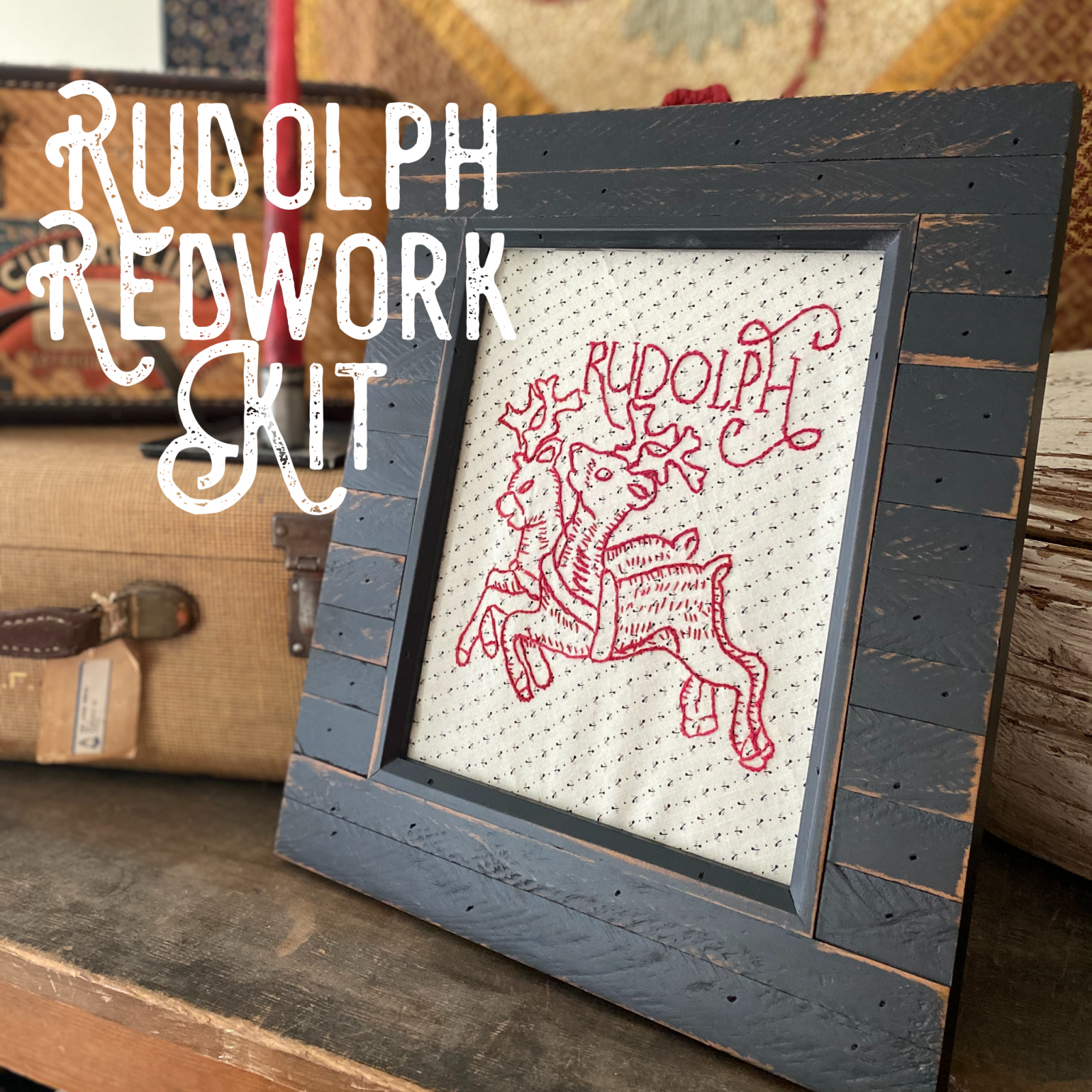 Rudolph Embroidery Redwork Kit