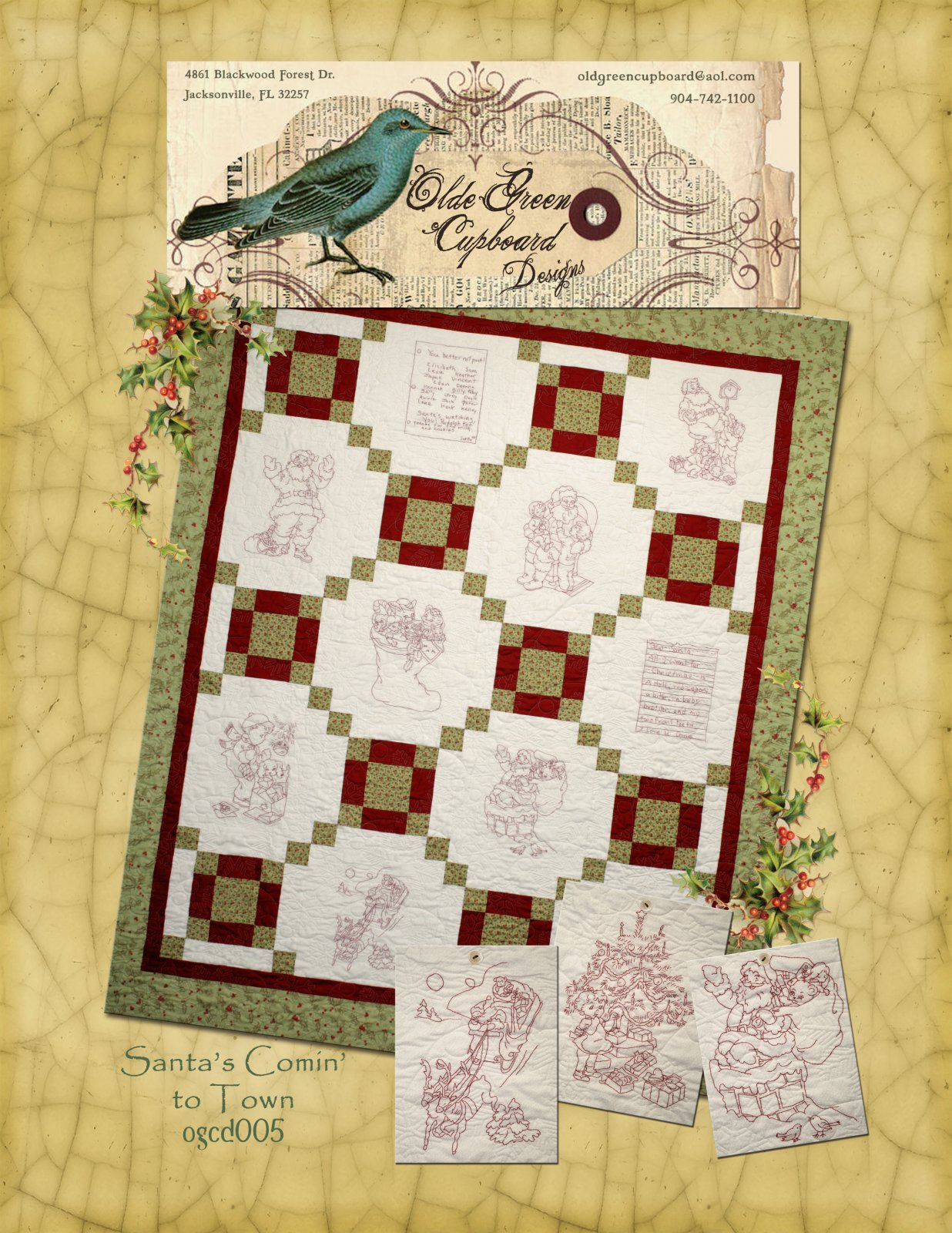 Santa's Comin' To Town Stitchery Quilt Pattern - OGCD005