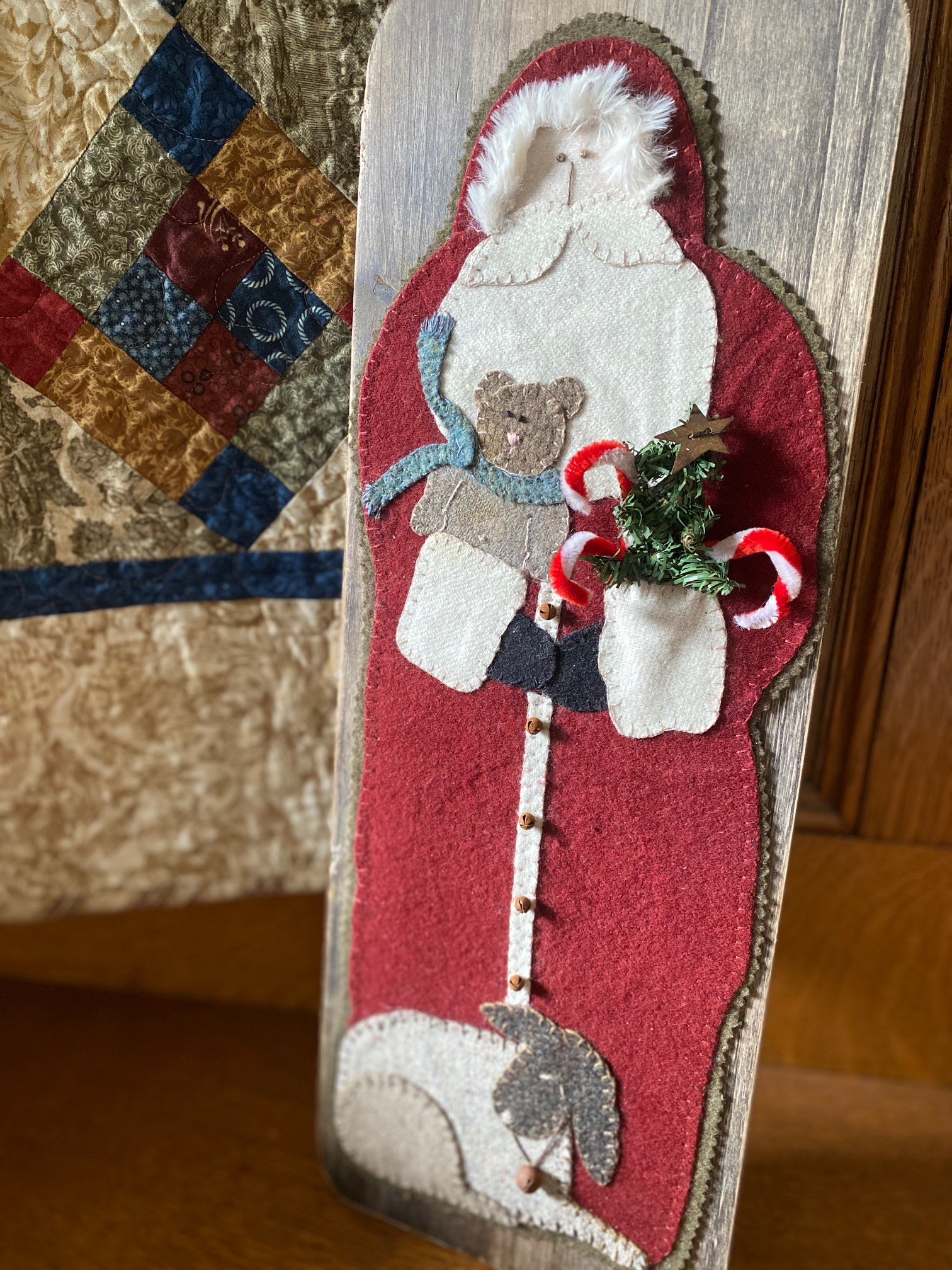 Father Santa Wool Applique on Board e-pattern ONLY