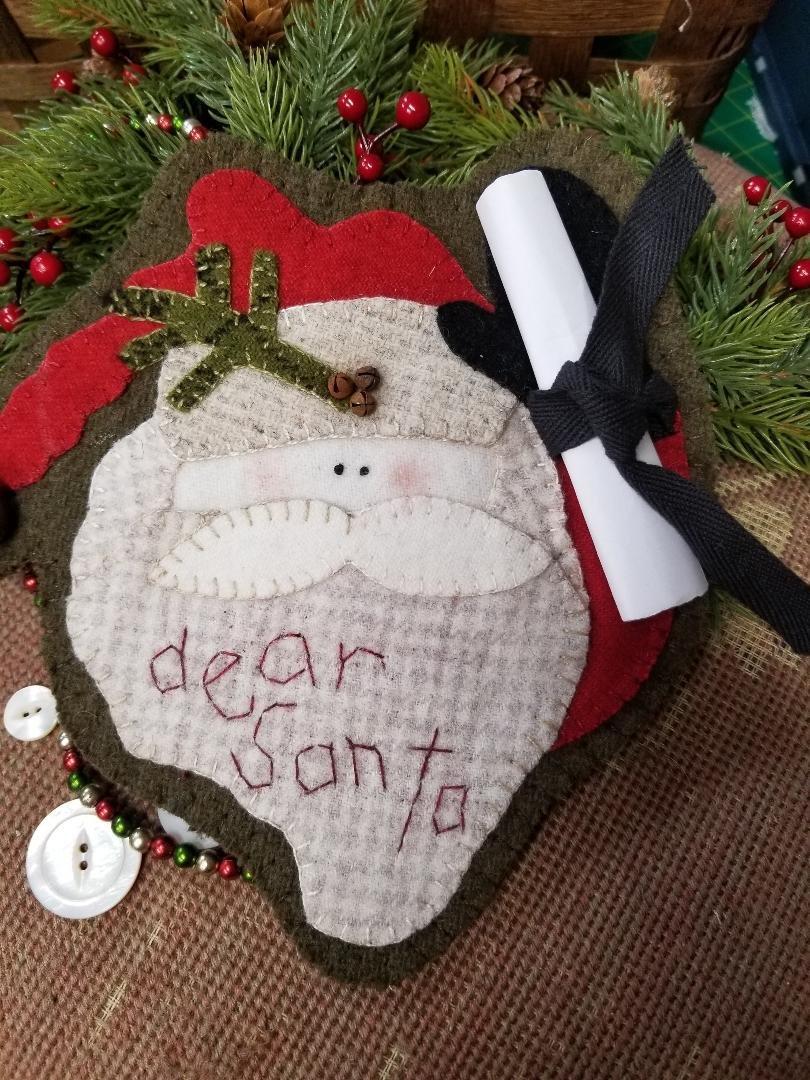 Dear Santa -  Wool Christmas Ornament - e-Pattern