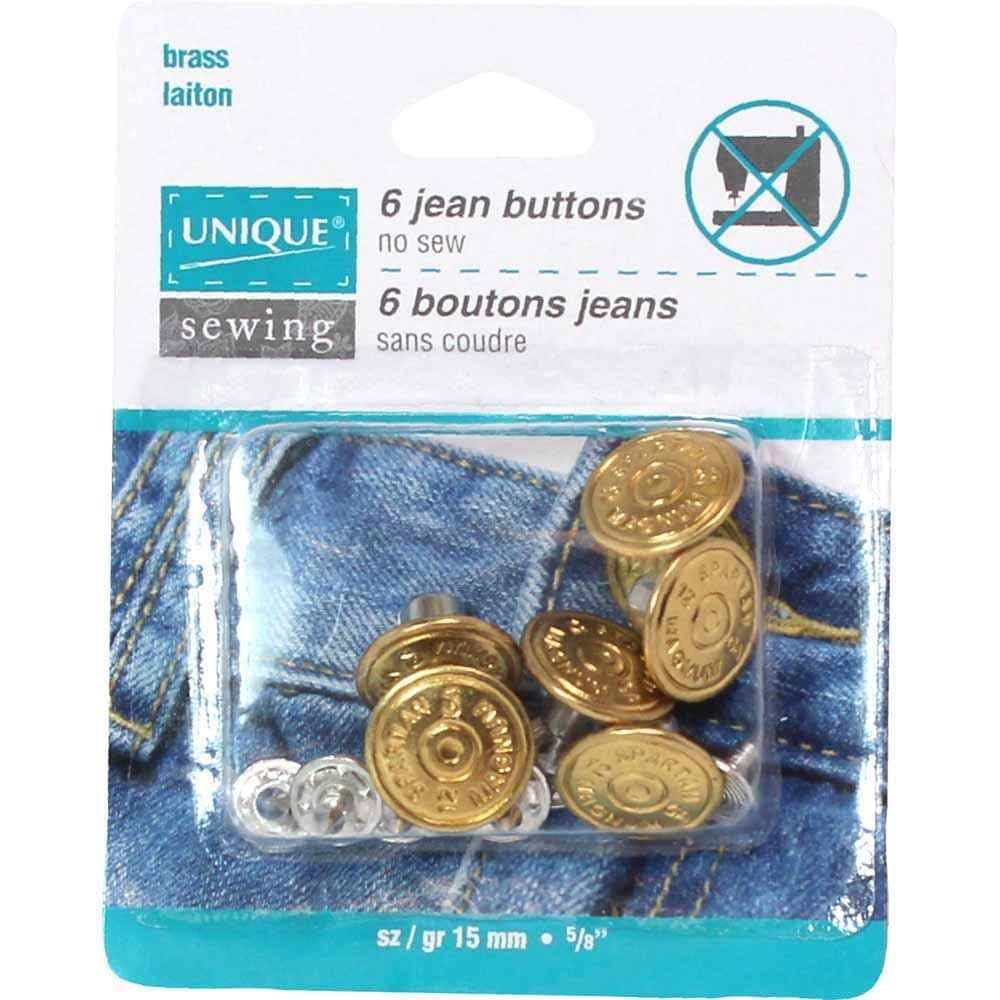 UNIQUE SEWING Jean Buttons No Sewing - Gold - 6 pcs. - 15mm (5/8)