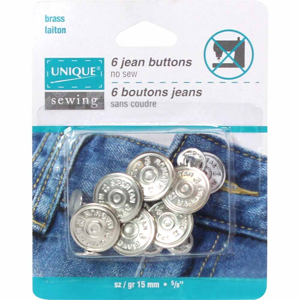 UNIQUE SEWING Jean Buttons No Sewing - Silver - 6 pcs. - 15mm (5/8)