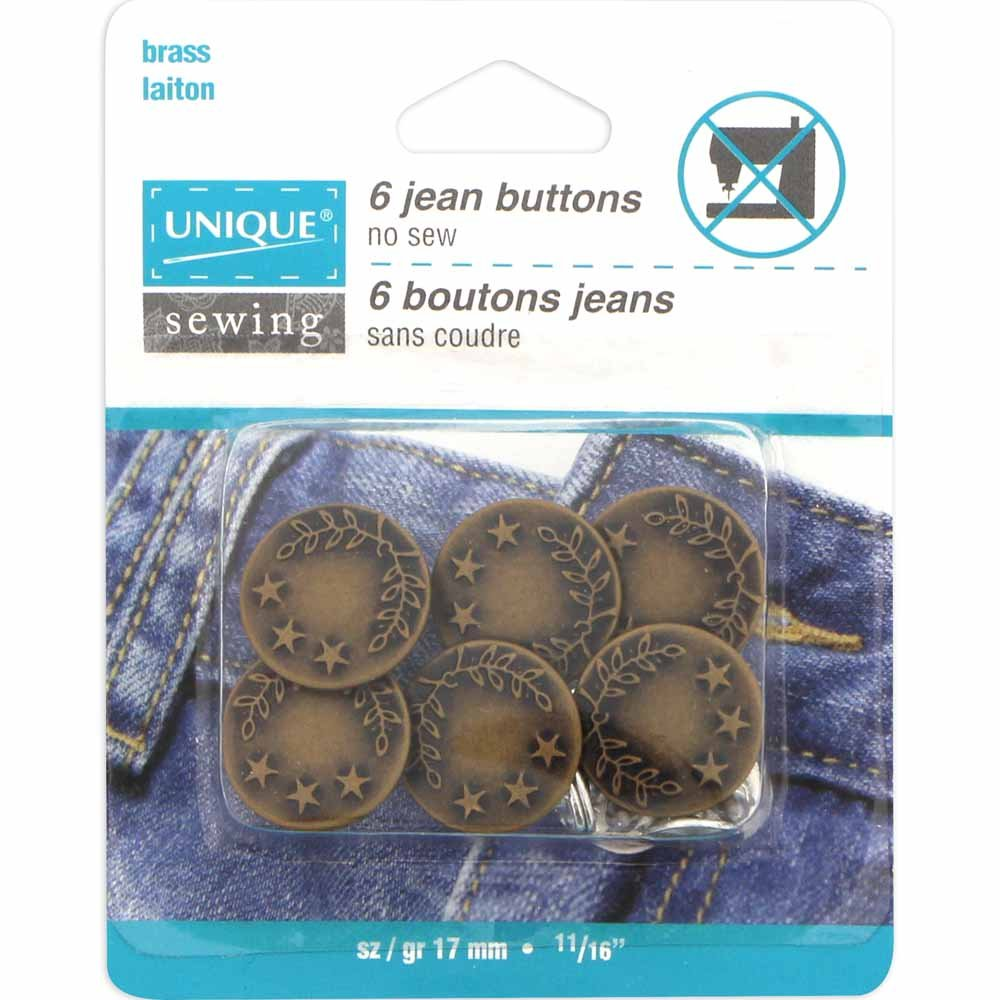 UNIQUE SEWING Jean Buttons No Sewing - Antique Brass - 6pcs. - 17mm (5/8)
