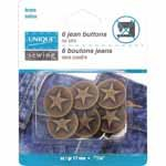 UNIQUE SEWING Jean Buttons No Sewing - Antique Copper Large Stars - 6pcs. - 17mm (5/8)