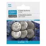 UNIQUE SEWING Jean Buttons No Sewing - Antique Silver 5 Stars - 6pcs. - 20mm (3/4)