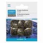 UNIQUE SEWING Jean Buttons No Sewing - Antique Brass Emblem - 6pcs. - 20mm (3/4)