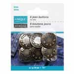 UNIQUE SEWING Jean Buttons No Sewing - Antique Brass 5 Stars - 6pcs. - 20mm (3/4)