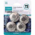 UNIQUE SEWING Jean Buttons No Sewing - Silver - 4 pcs. - 25mm (1)