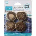 UNIQUE SEWING Jean Buttons No Sewing - Antique Brass - 4pcs. - 25mm (1)