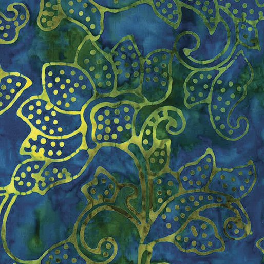 Bali Tropical Garden- Blue/Green