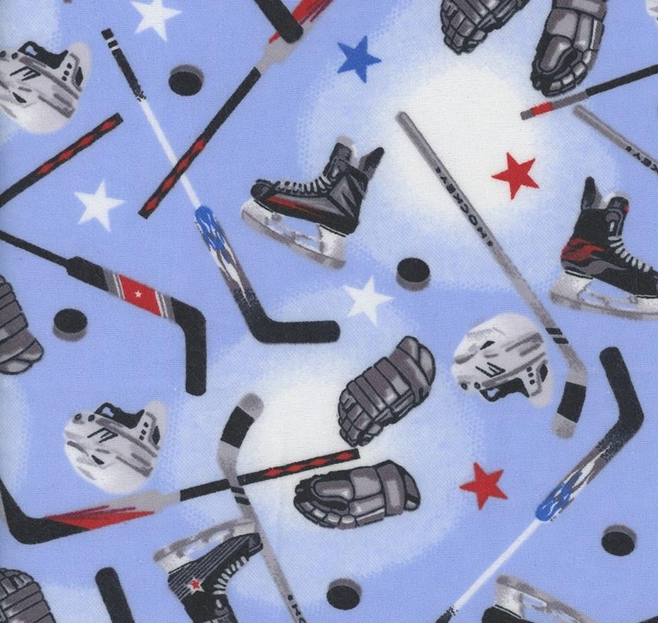 Hockey Gear - Hockey Sticks and Helmets Blue Flannel