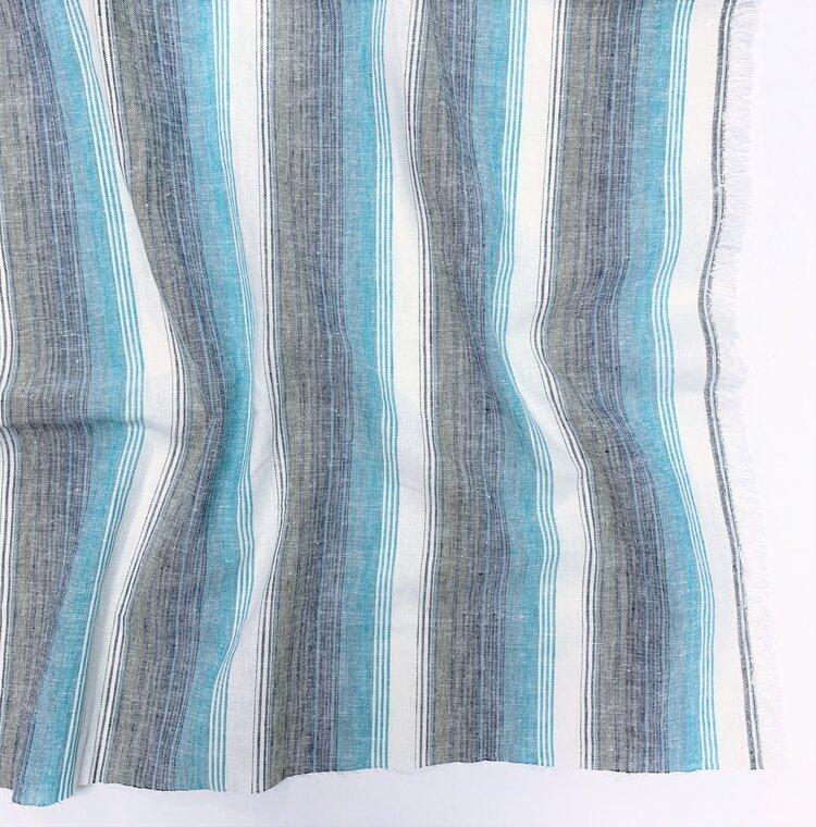 Belize Linen - Ocean Stripe