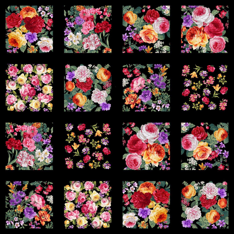 Multi Floral 8.5in Blocks, 2in gap between blocks