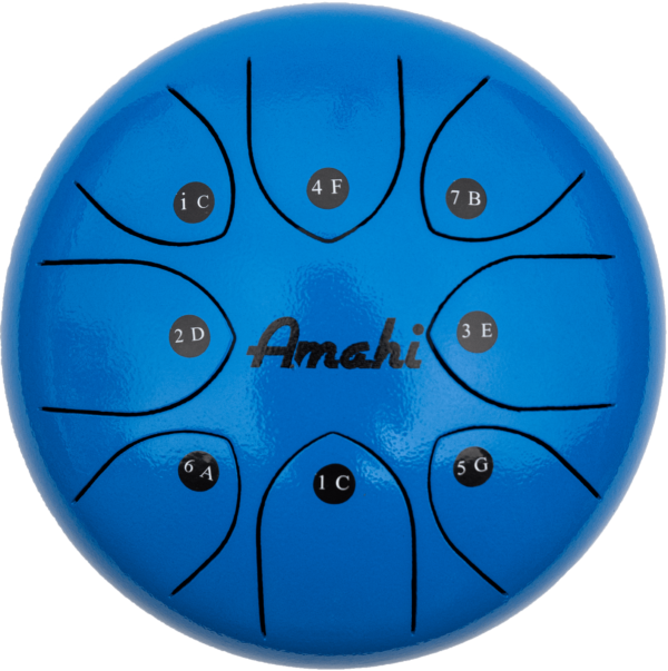 Amahi 8 Steel Tongue Drum, Blue Gloss