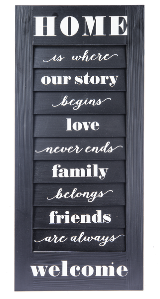 Wood Shutter - Home Wall Art - Black - 13 W. x 1 D. x 29 1/2 H