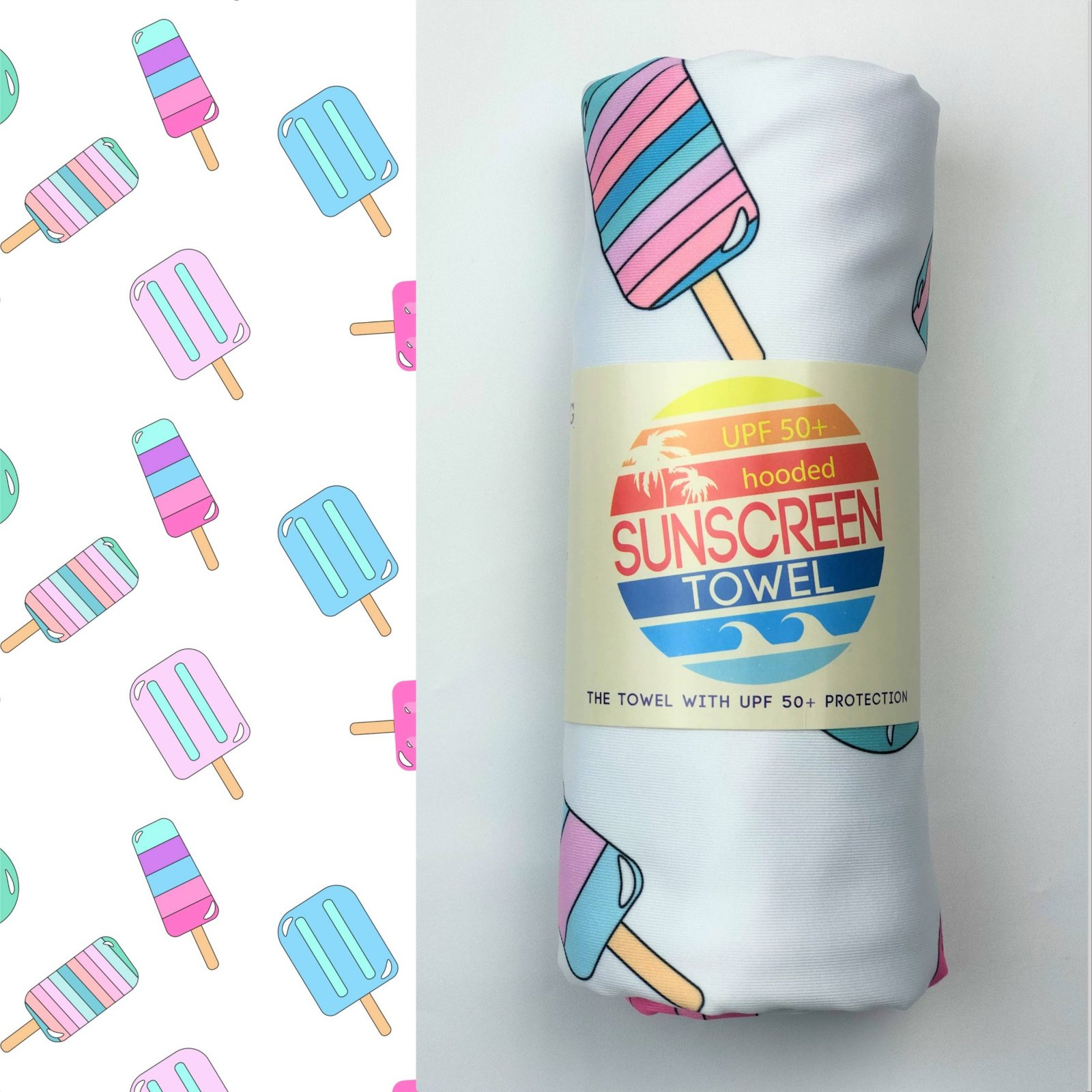 Hooded Sunscreen Towel SPF 50+ - Popsicles