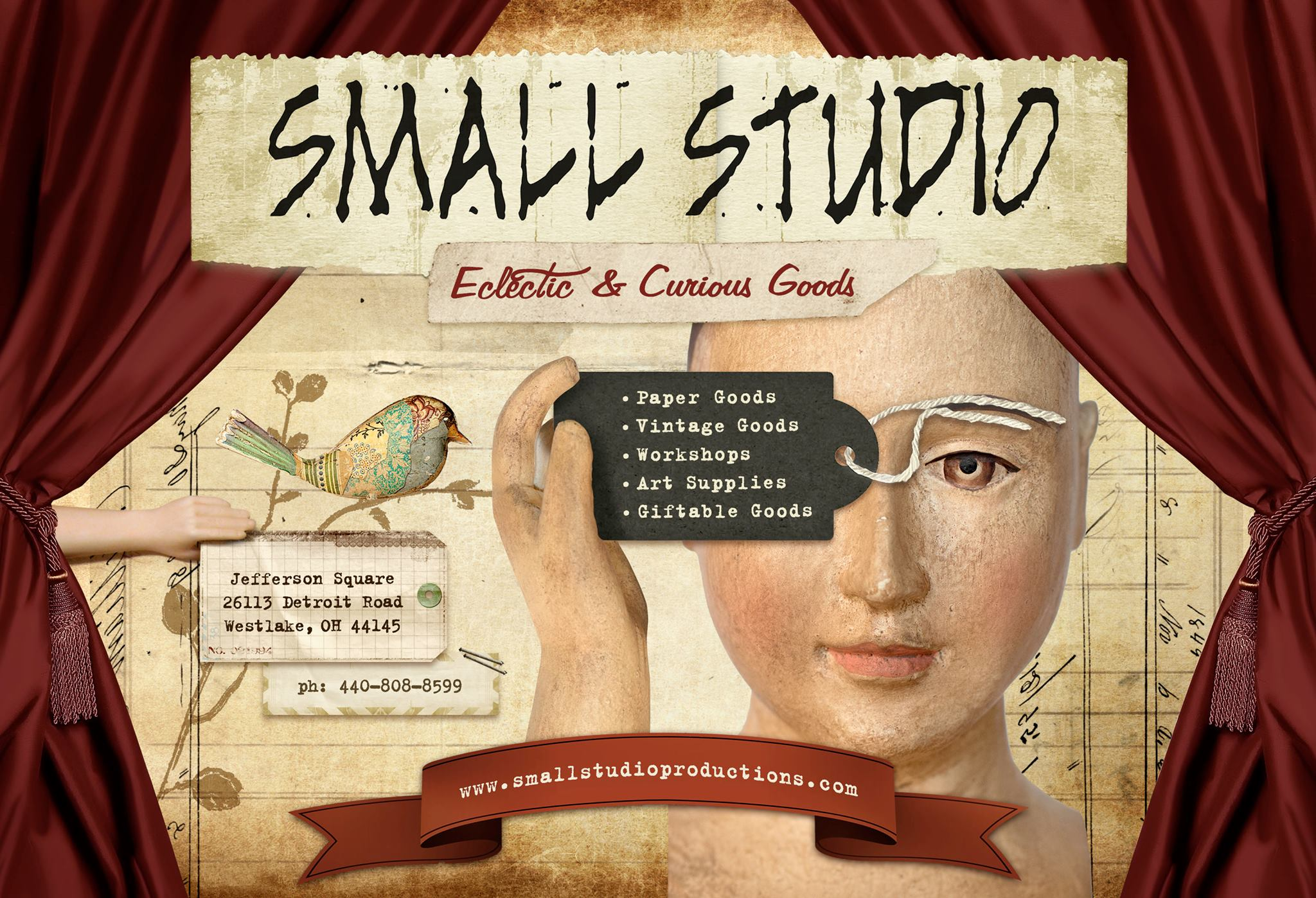 Graphic showing Small Studio Productions offerings and contact information