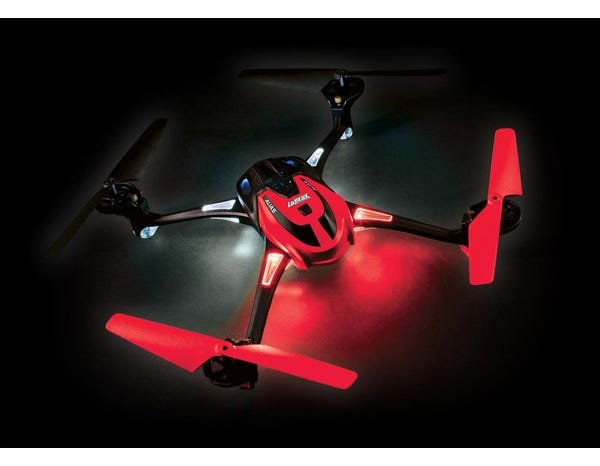 RED LaTrax Alias Quad Rotor Helicopter, Ready-To-Fly with 2.4GHz radio system, 650mAh LiPo battery, and single USB-powered charger.