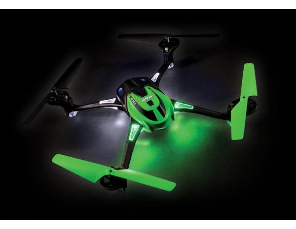 GREEN LaTrax Alias Quad Rotor Helicopter, Ready-To-Fly with 2.4GHz radio system, 650mAh LiPo battery, and single USB-powered charger.