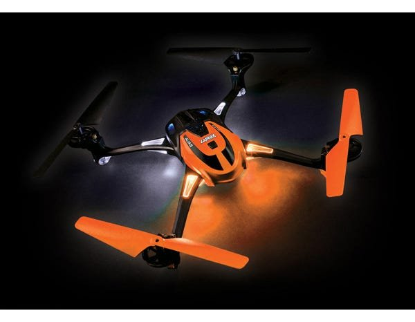 Orange LaTrax Alias Quad Rotor Helicopter, Ready-To-Fly with 2.4GHz radio system, 650mAh LiPo battery, and single USB-powered charger.