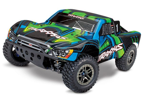 Slash 4X4 Ultimate Edition Green:  1/10 Scale 4WD Electric Short Course Truck. Ready-to-Race with TQi Radio System and Traxxas Link Wireless Module, Low-CG chassis, Velineon VXL-3s brushless ESC (fwd/rev), and Traxxas Stability Management (TSM).