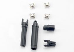 Half shafts, center front (1), center rear (1) (internal splined half shafts (2)/external splined half shaft) (2))/ metal u-joints (4)