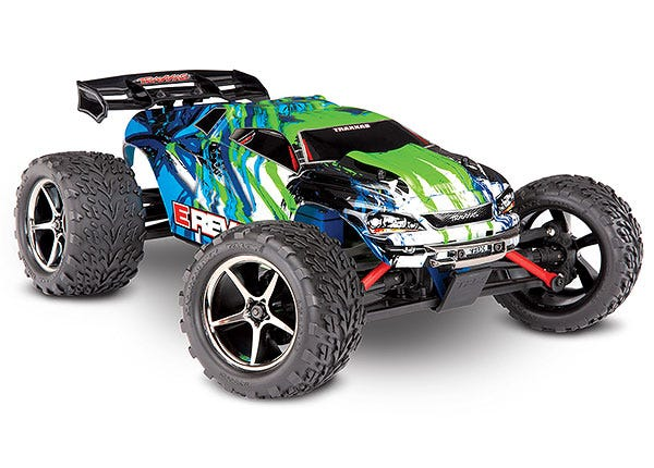 E-Revo: 1/16 Scale 4WD Electric Racing Monster Truck.  Ready-To-Race with TQ 2.4GHz radio system, Titan 550 motor and XL-2.5 ESC.  Includes: 6-Cell NiMH 1200mAh Traxxas battery