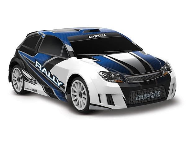 LaTrax Rally: 1/18 Scale 4WD Electric Rally Racer. Ready-To-Race and Powered by Traxxas with ESC (fwd/rev) and brushed motor.  Includes: 5-Cell NiMH 1200mAh LaTrax battery with AC charger