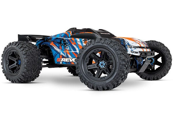 E-Revo VXL Brushless Orange and Blue  1/10 Scale 4WD Brushless Electric Monster Truck with TQi 2.4GHz Traxxas Link Enabled Radio System, Velineon VXL-6s brushless ESC (fwd/rev), and Traxxas Stability Management (TSM)