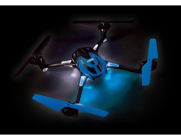 BLUE LaTrax Alias Quad Rotor Helicopter, Ready-To-Fly with 2.4GHz radio system, 650mAh LiPo battery, and single USB-powered charger.
