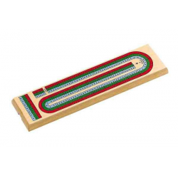 CRIBBAGE - BOARD - 3 COLOR TRACK ( w/ Pegs and Storage in back)