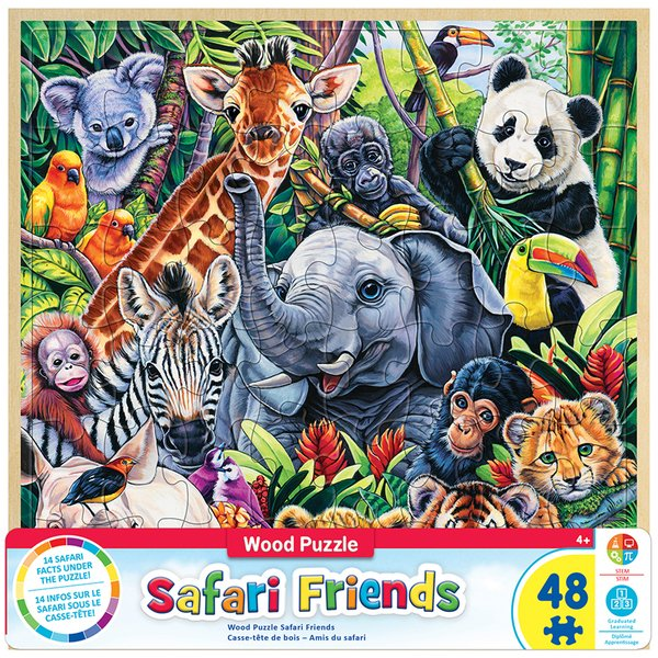 WOOD FUN FACTS OF SAFARI FRIENDS - 48 PIECE KIDS PUZZLE BY JENNY NEWLAND