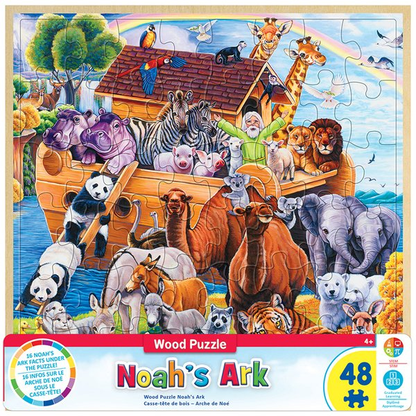 WOOD FUN FACTS OF NOAH'S ARK - 48 PIECE KIDS PUZZLE BY JENNY NEWLAND