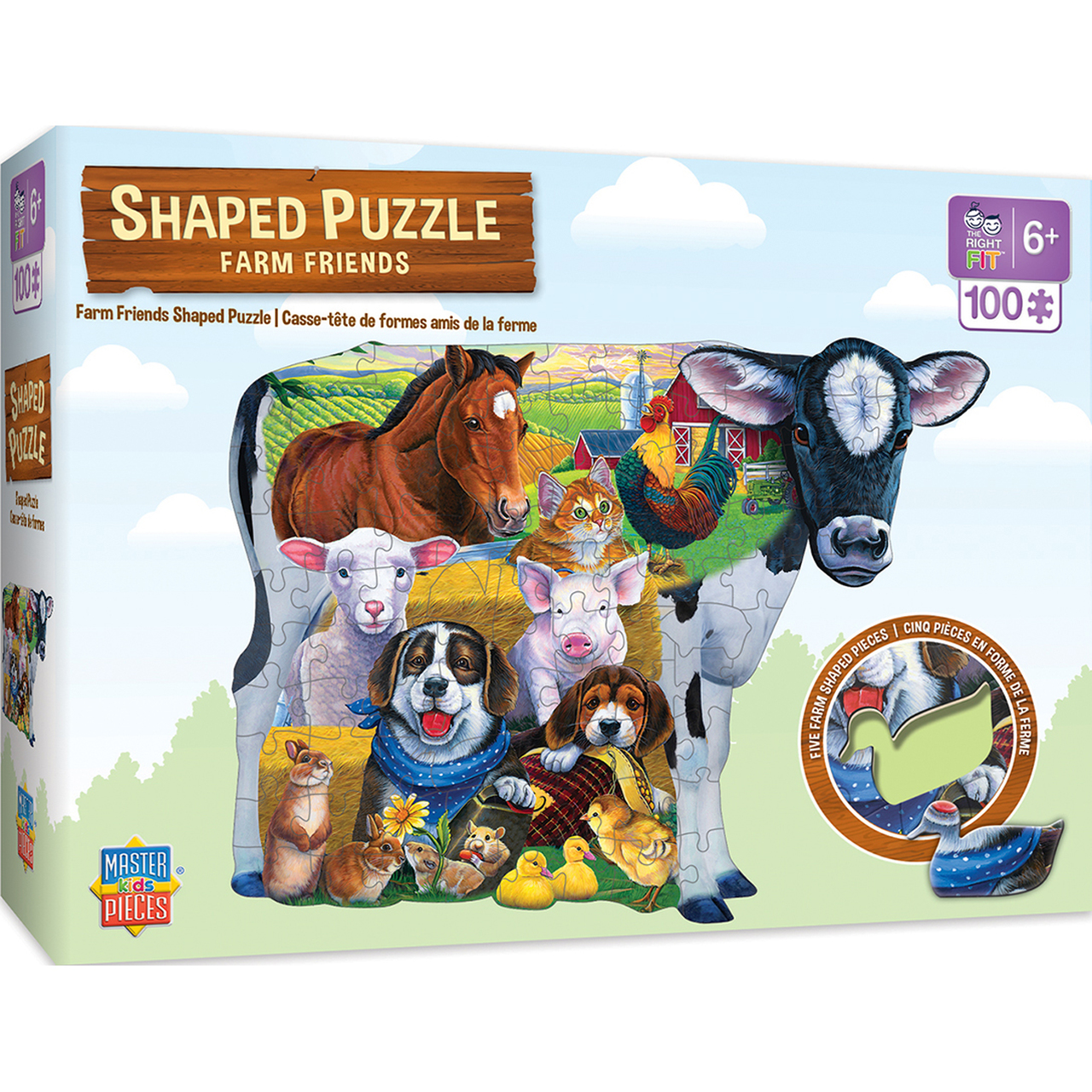 SHAPED FARM FRIENDS RIGHT FIT - 100 PIECE KIDS PUZZLE BY JENNY NEWLAND