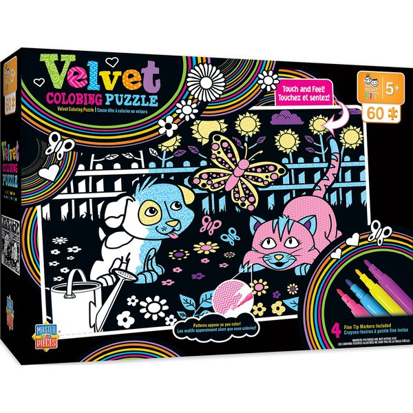 VELVET COLORING OF PUPPY AND KITTY RIGHT FIT - 60 PIECE PUZZLE