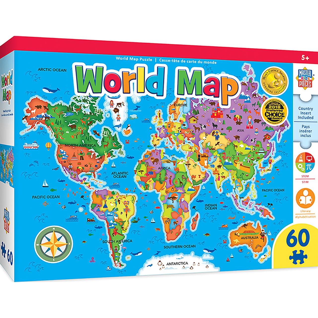 EDUCATIONAL MAPS - WORLD MAP 60 PIECE JIGSAW PUZZLE
