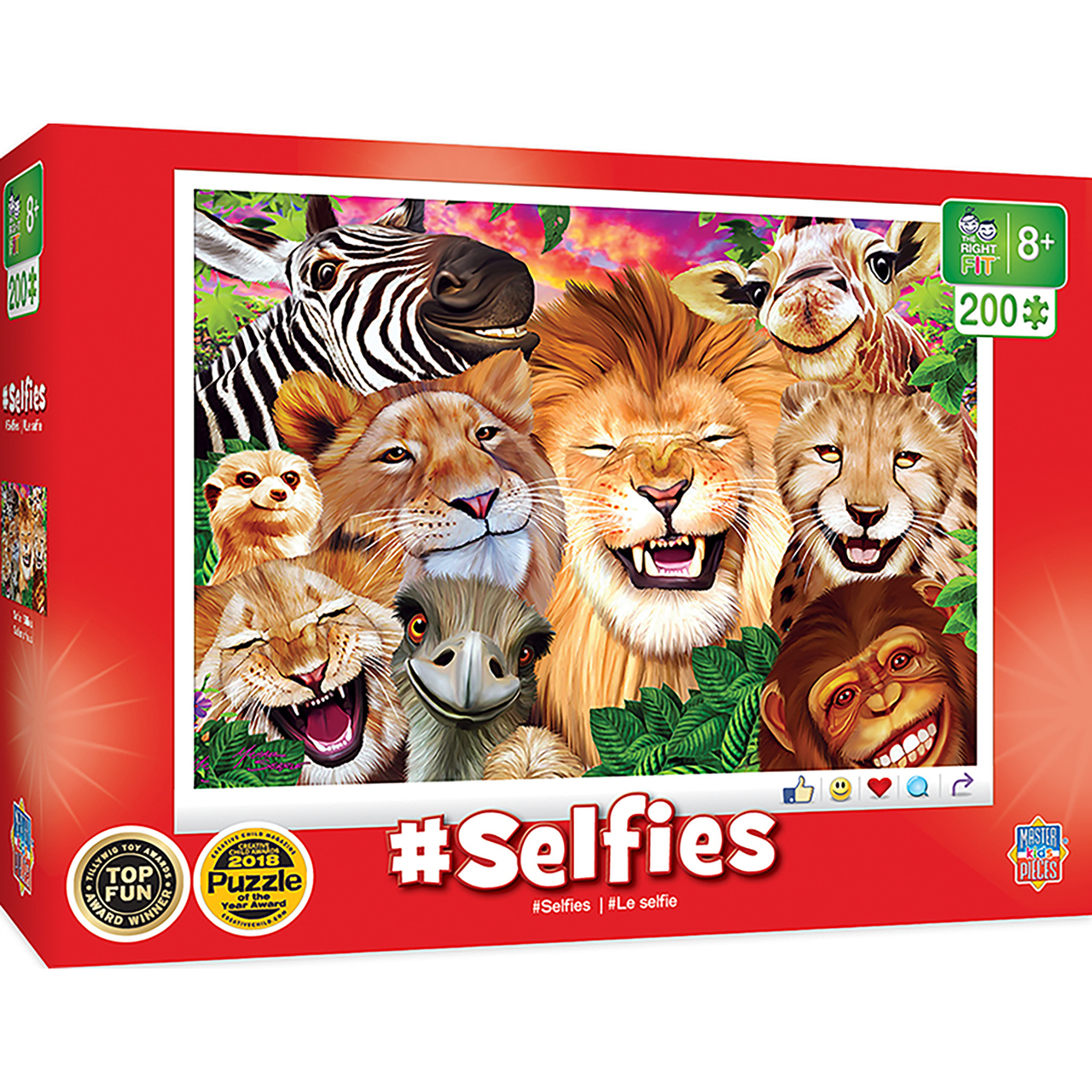 SELFIES - SAFARI SILLIES RIGHT FIT 200 PIECE KIDS PUZZLE