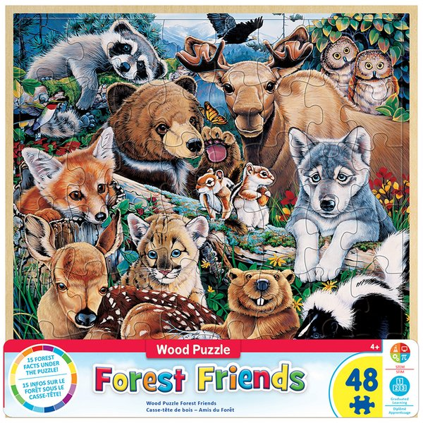 WOOD FUN FACTS OF FOREST FRIENDS - 48 PIECE KIDS PUZZLE BY JENNY NEWLAND