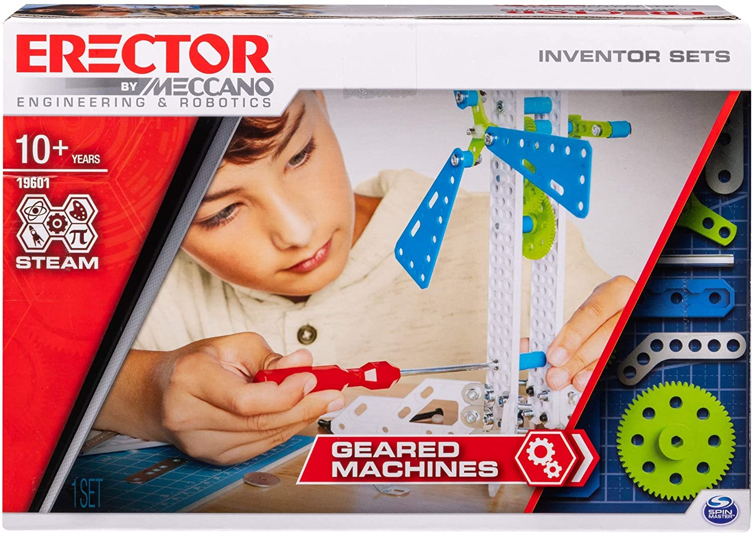 Meccano Erector, Set 3, Geared Machines S.T.E.A.M. Building Kit with Moving Parts, for Ages 10 & Up