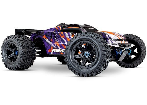 E-Revo VXL Brushless: Orange & Purple 1/10 Scale 4WD Brushless Electric Monster Truck with TQi 2.4GHz Traxxas Link Enabled Radio System, Velineon VXL-6s brushless ESC (fwd/rev), and Traxxas Stability Management (TSM)