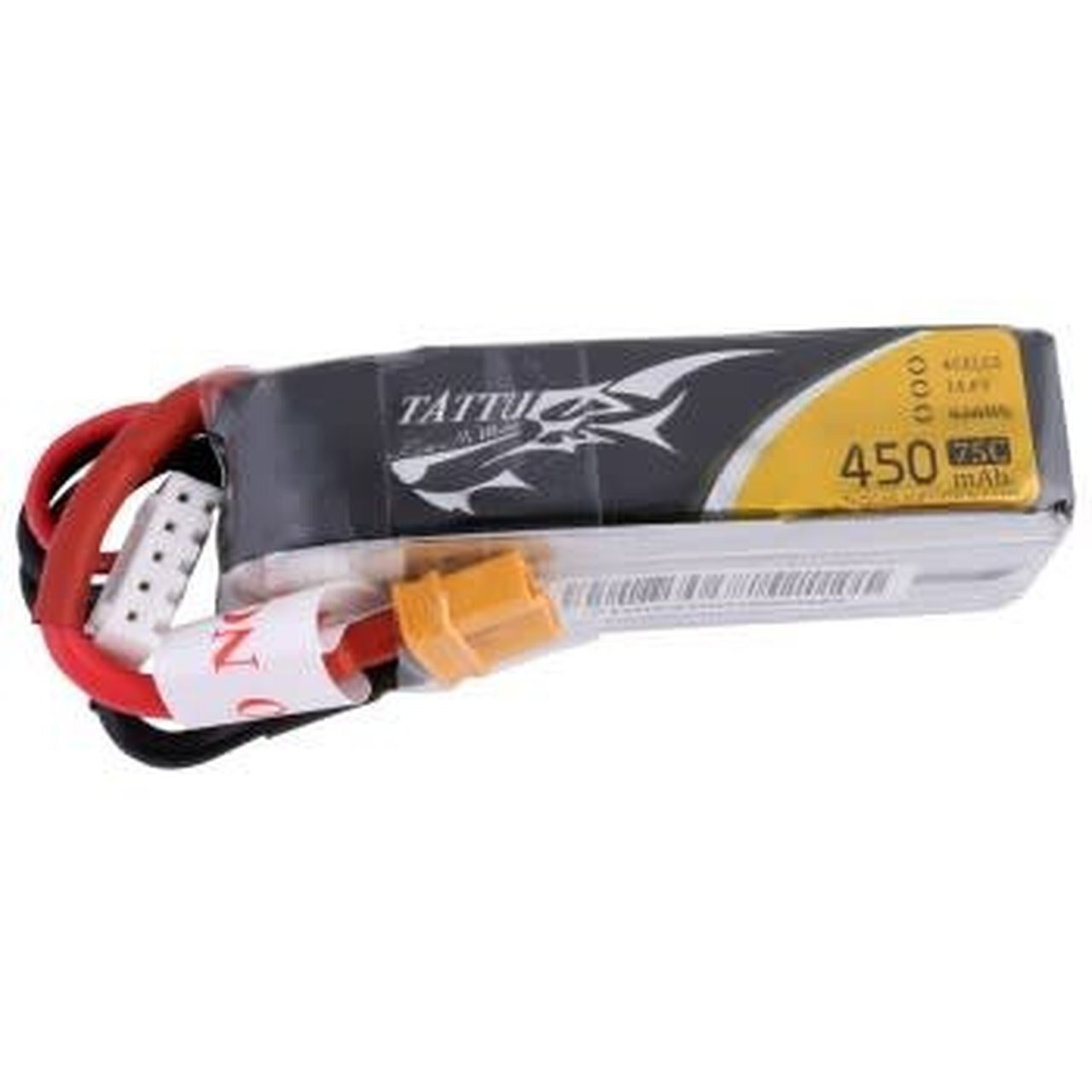 Tattu 450mAh 14.8V 75C 4S1P Lipo Battery Pack with XT30 plug - Long Size for H Frame