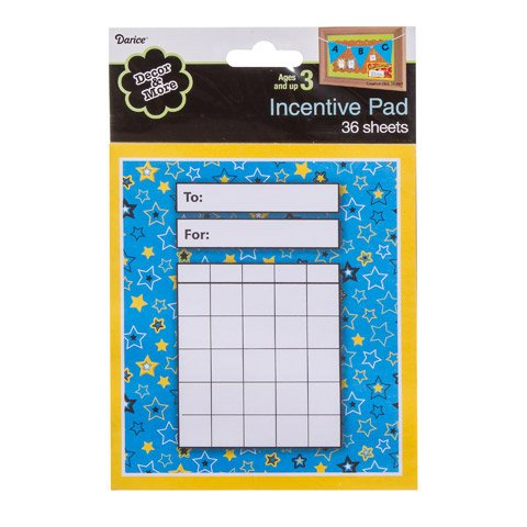 Decor And More Incentive Pad - Stars - Blue/Yellow - 5.25 X 6 Inches - 36 Sheets