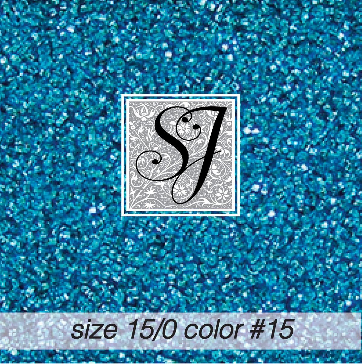15 Aqua Blue Silver Lined 15/0 Seed Bead