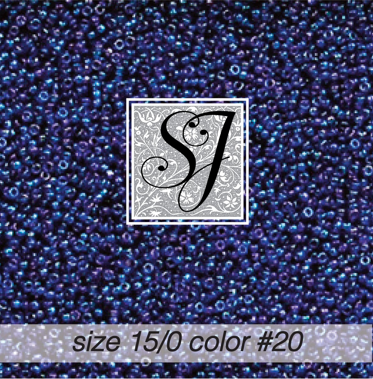 20 Dark Blue Irridescent 15/0 Seed Bead