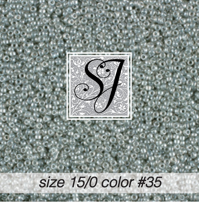 35 Pale Grey Pearl 15/0 Seed Bead