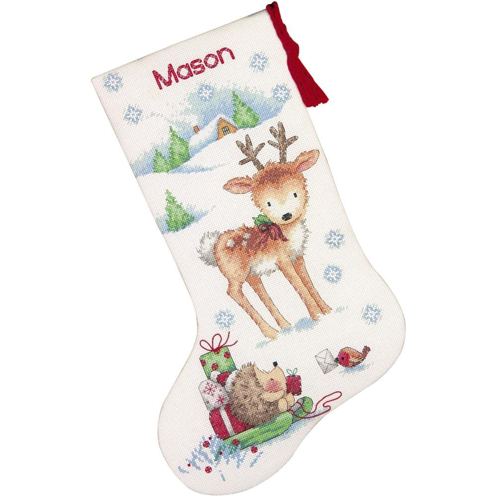 Dimensions Counted Cross Stitch Kit 16 Long-Reindeer Hedgehog Stocking (14 Count)