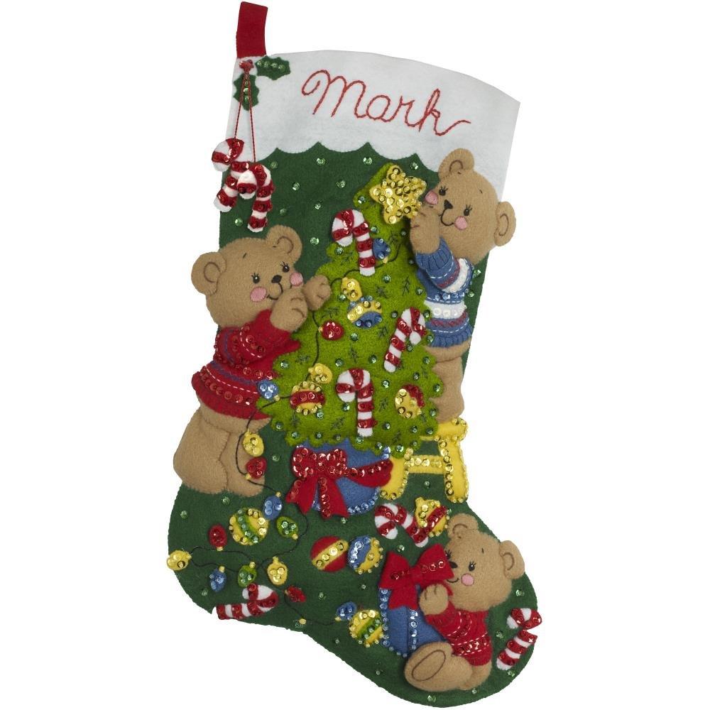 Bucilla Felt Stocking Applique Kit 18 Long-Bear Family Christmas